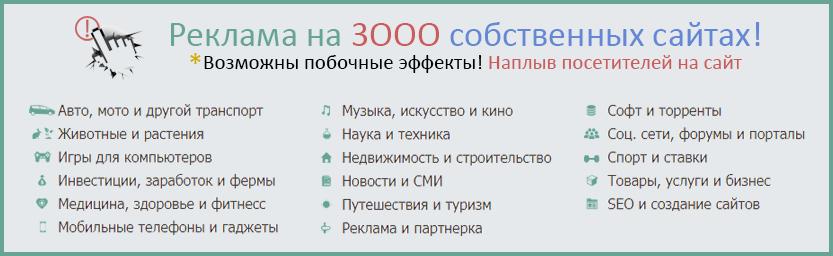 Платная контекстная, ссылочная реклама с размещением на 3000 сайтах из собственной базы