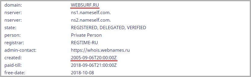 Открытые данные по сервису websurf